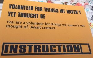 volunteer for things we havent thought of yet - mandie buchanan