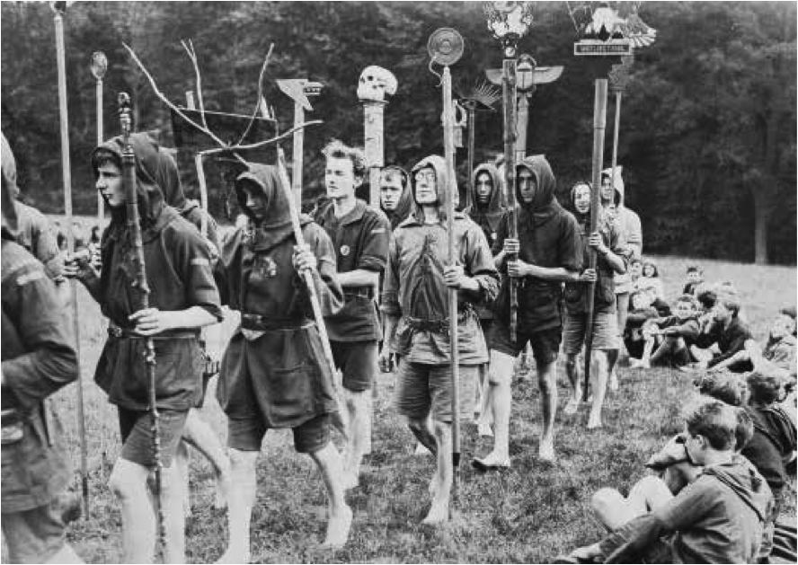 Kibbo Kift with Totems, 1925. Photo courtesy of Kibbo Kift Foundation.